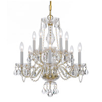 Traditional Crystal 10 Light 23 inch Polished Brass Chandelier Ceiling Light in Hand Cut, Polished Brass (PB)