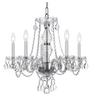 Traditional Crystal 5 Light 21 inch Polished Chrome Chandelier Ceiling Light in Hand Cut, Polished Chrome (CH)