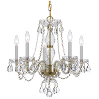 Traditional Crystal 5 Light 21 inch Polished Brass Chandelier Ceiling Light in Hand Cut, Polished Brass (PB)
