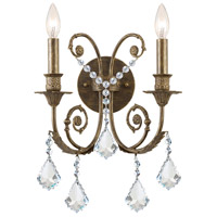 Regis 2 Light 13 inch English Bronze Wall Sconce Wall Light in English Bronze (EB), Clear Hand Cut