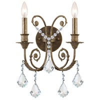 Crystorama Regis 2 Light Wall Sconce in English Bronze, Swarovski Spectra 5112-EB-CL-SAQ