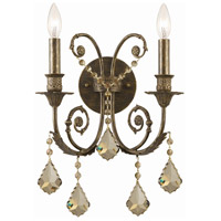 Crystorama Regis 2 Light Wall Sconce in English Bronze, Golden Teak, Hand Cut 5112-EB-GT-MWP