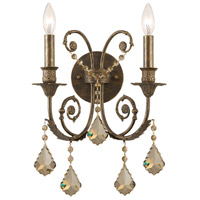 Crystorama Regis 2 Light Wall Sconce in English Bronze, Golden Teak, Swarovski Elements 5112-EB-GTS