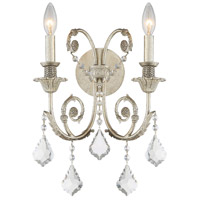 Regis 2 Light 13 inch Olde Silver Wall Sconce Wall Light in Olde Silver (OS), Clear Hand Cut