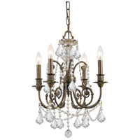 Crystorama Regis 4 Light Mini Chandelier in English Bronze, Swarovski Elements 5114-EB-CL-S