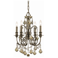 Crystorama Regis 4 Light Mini Chandelier in English Bronze, Golden Teak, Hand Cut 5114-EB-GT-MWP