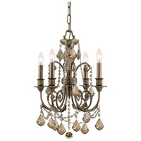 Crystorama Regis 4 Light Mini Chandelier in English Bronze, Golden Teak, Swarovski Elements 5114-EB-GTS