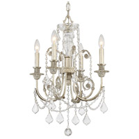 Crystorama Regis 4 Light Mini Chandelier in Olde Silver, Swarovski Spectra 5114-OS-CL-SAQ