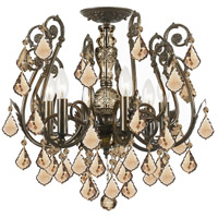 Crystorama Regis 6 Light Semi Flush Mount in English Bronze, Golden Teak, Swarovski Elements 5115-EB-GTS