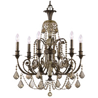 Crystorama Regis 6 Light Chandelier in English Bronze with Hand Cut Crystals 5116-EB-GT-MWP