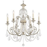 Crystorama Regis 6 Light Chandelier in Olde Silver, Italian Crystals 5116-OS-CL-I