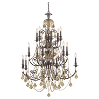Crystorama Regis 18 Light Chandelier in English Bronze, Golden Teak, Hand Cut 5117-EB-GT-MWP photo thumbnail