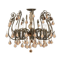 Crystorama Regis 8 Light Semi-Flush Mount in English Bronze with Hand Cut Crystals 5118-EB-GT-MWP