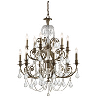 Crystorama Regis 12 Light Chandelier in English Bronze, Swarovski Spectra 5119-EB-CL-SAQ