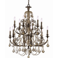 Crystorama Regis 12 Light Chandelier in English Bronze with Hand Cut Crystals 5119-EB-GT-MWP