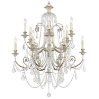 Crystorama Regis 12 Light Chandelier in Olde Silver, Swarovski Spectra 5119-OS-CL-SAQ