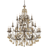 Crystorama Regis 24 Light Chandelier in English Bronze, Golden Teak, Hand Cut 5120-EB-GT-MWP