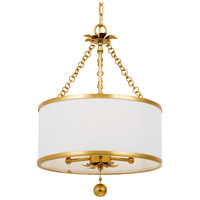 Crystorama 513-GA Broche 3 Light 14 inch Antique Gold Chandelier Ceiling Light in Antique Gold (GA)