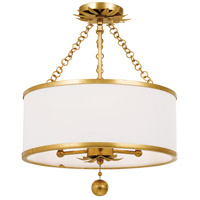 Crystorama 513-GA_CEILING Broche 3 Light 14 inch Antique Gold Pendant Ceiling Light