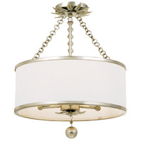 Crystorama 513-SA_CEILING Broche 3 Light 14 inch Antique Silver Pendant Ceiling Light