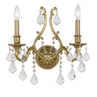 Crystorama Yorkshire 2 Light Wall Sconce in Aged Brass, Clear Crystal, Swarovski Elements 5142-AG-CL-S