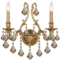 Crystorama Yorkshire 2 Light Wall Sconce in Aged Brass, Golden Teak, Hand Cut 5142-AG-GT-MWP