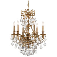 Yorkshire 6 Light 21 inch Aged Brass Chandelier Ceiling Light in Clear Crystal (CL), Hand Cut