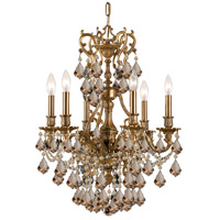 Crystorama Yorkshire 6 Light Chandelier in Aged Brass, Golden Teak, Hand Cut 5146-AG-GT-MWP
