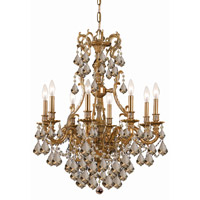 Crystorama Yorkshire 8 Light Chandelier in Aged Brass, Golden Teak, Swarovski Elements 5148-AG-GTS