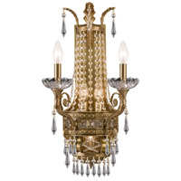 Crystorama Regal 5 Light Wall Sconce in Aged Brass with Hand Cut Crystals 5150-AG-CL-MWP