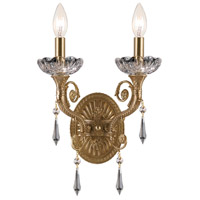 Crystorama Regal 2 Light Wall Sconce in Aged Brass, Clear Crystal, Hand Cut 5152-AG-CL-MWP