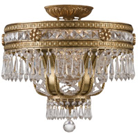 Regal 6 Light 17 inch Aged Brass Semi Flush Mount Ceiling Light in Clear Crystal (CL), Hand Cut, Aged Brass (AG)