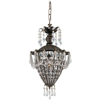 Crystorama Vanderbilt 1 Light Pendant in English Bronze with Hand Cut Crystals 5161-EB-CL-MWP