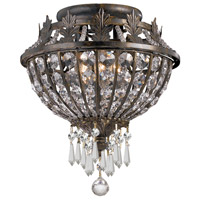 Vanderbilt 3 Light 11 inch English Bronze Semi Flush Mount Ceiling Light in Clear Crystal (CL), Hand Cut, English Bronze (EB)
