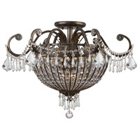 Crystorama Vanderbilt 6 Light Semi Flush Mount in English Bronze, Clear Crystal, Hand Cut 5165-EB-CL-MWP