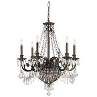Crystorama 5166-EB-CL-MWP Vanderbilt 6 Light 27 inch English Bronze Chandelier Ceiling Light