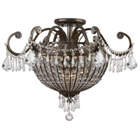 Vanderbilt 9 Light 24 inch English Bronze Semi Flush Mount Ceiling Light in Clear Crystal (CL), Hand Cut, English Bronze (EB)