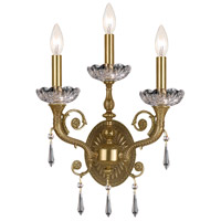 Crystorama Regal 3 Light Wall Sconce in Aged Brass 5173-AG-CL-SAQ