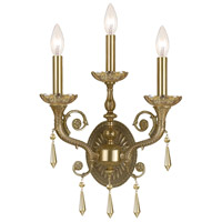 Crystorama Regal 3 Light Wall Sconce in Aged Brass with Hand Cut Crystals 5173-AG-GT-MWP