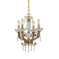 Regal 4 Light 14 inch Aged Brass Mini Chandelier Ceiling Light in Clear Crystal (CL), Hand Cut