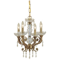 Regal 4 Light 14 inch Aged Brass Mini Chandelier Ceiling Light in Clear Crystal (CL), Swarovski Spectra (SAQ)