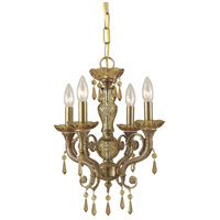 Crystorama Regal 4 Light Mini Chandelier in Aged Brass, Golden Teak, Hand Cut 5174-AG-GT-MWP