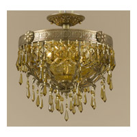Crystorama Regal 2 Light Semi-Flush Mount in Aged Brass 5175-AG-GT-MWP