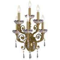 Crystorama Regal 6 Light Wall Sconce in Aged Brass with Swarovski Elements Crystals 5176-AG-CL-S