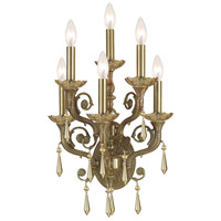 Crystorama Regal 6 Light Wall Sconce in Aged Brass with Hand Cut Crystals 5176-AG-GT-MWP