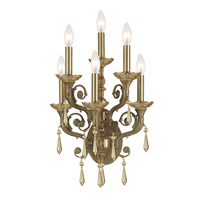Crystorama Regal 6 Light Wall Sconce in Aged Brass with Swarovski Elements Crystals 5176-AG-GTS