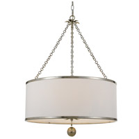 Crystorama 518-SA Broche 6 Light 31 inch Antique Silver Chandelier Ceiling Light in Antique Silver (SA)