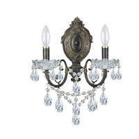 Crystorama Legacy 2 Light Wall Sconce in English Bronze, Italian Crystals 5192-EB-CL-I