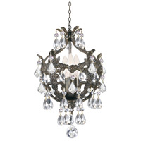 Crystorama Legacy 3 Light Mini Chandelier in English Bronze with Hand Cut Crystals 5193-EB-CL-MWP