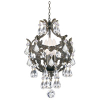 Crystorama 5193-EB-CL-S Legacy 3 Light 10 inch English Bronze Mini Chandelier Ceiling Light in Clear Swarovski Strass